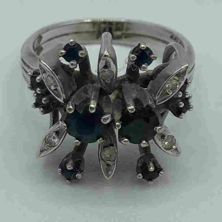 VINTAGE 14K GOLD, SAPPHIRE & DIAMOND RING SIZE 5