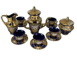 VTG BOHEMIAN CZECH COBALT BLUE ART GLASS TEA SET