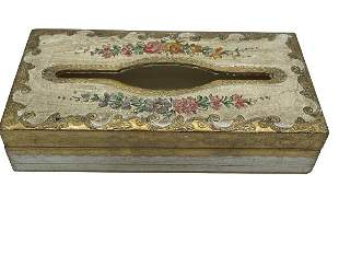 VTG FLORINTINE ITALY HAND PAINTED TISSUE BOX