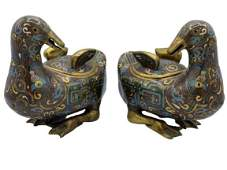 PAIR OF QING DYNASTY STYLE CLOISONNE DUCKS