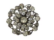 """VINTAGE BROOCH WITH ROUND CLEAR STONES 1.75"""""""