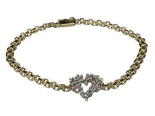 14 K GOLD AND DIAMOND HEART BRACELET