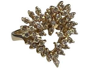 14K GOLD AND DIAMOND HEART RING SZ 5