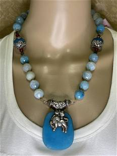 AGATE & CORAL NECKLACE W/ SILVER BIRD/GOAT PENDANT