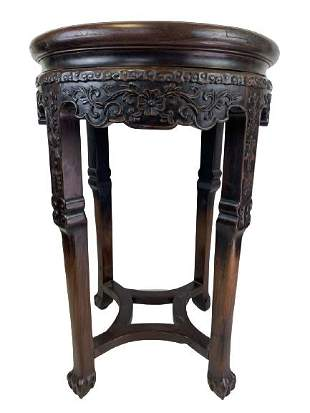 """ANTIQUE CHINESE HARDWOOD MARBLE TOP SIDE TABLE 26"""""""