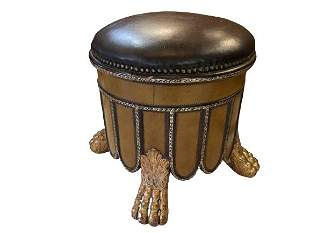 MAITLAND SMITH STOOL WITH BLACK LEATHER TOP