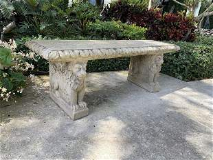 FRENCH NEOCLASSICAL CAST STONE GARDEN BENCH 56""