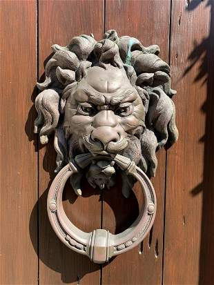 VTG BRONZE MEDIEVAL LIONS HEAD DOOR KNOCKER 14""