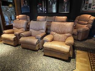 SET OF THREE LEATHER  THEATER ROOM CHAIRS