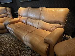 THEATER ROOM LEATHER RECLING SOFA