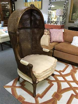 VINTAGE CARVED WOOD & CANE HIGH BACK HOODED CHAIR