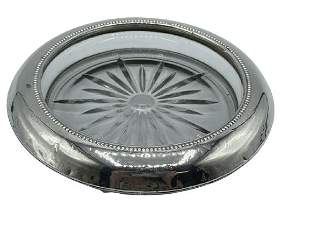 FRANK WHITING & COMPANY STERLING & CRYSTAL ASHTRAY