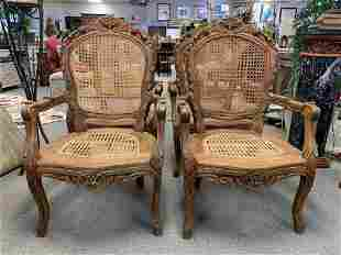 4 PROVINCIAL FRENCH CARVED WOOD CANE BACK CHAIRS