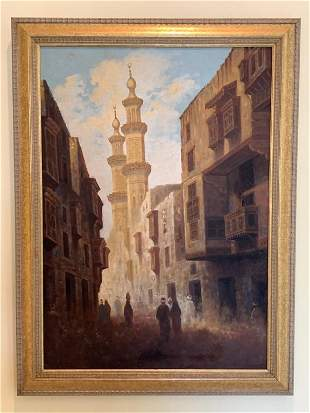 """20TH C EGYPTIAN OIL CITYSCAPE OIL PAINTING 31"""""""