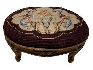 ANTIQUE EMBROIDERED NEEDLEPOINT FOOTSTOOL BENCH
