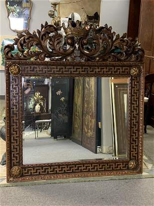 """LARGE WOOD ORNATE CARVED CORONET MIRROR 56"""""""