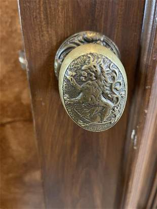 PAIR OF BRASS LIONS HEAD DOOR HANDLES