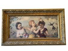 """VINTAGE VICTORIAN CHILDREN AND ROSES GICLEE 31.5"""""""