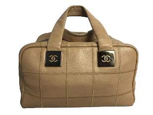 CHANEL TOP HANDLE BEIGE LEATHER LOGO SHOULDER BAG