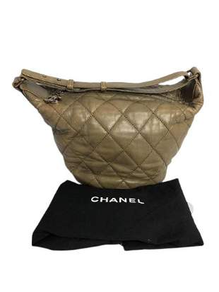 CHANEL ZIP HOBO DARK BEIGE SHOULDER BAG