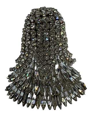 LAGERFELD / TIZIANI SILVER AND JEWEL BELL BROOCH