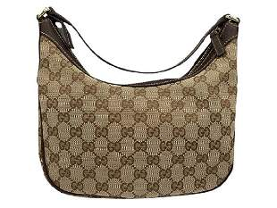 GUCCI BEIGE CANVAS SMALL HOBO SHOULDER BAG
