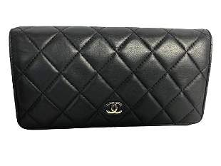 CHANEL LOGO QUILTED BIFOLD BLACK WALLET