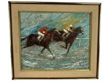 """D. ROTH KENTUCKY DERBY HORSE RACE PAINTING 30"""""""