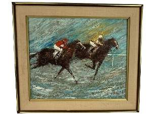D. ROTH KENTUCKY DERBY HORSE RACE PAINTING 30""