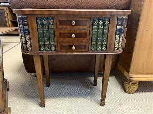 VTG MAITLAND SMITH FAUX BOOK SIDE TABLE W DRAWERS