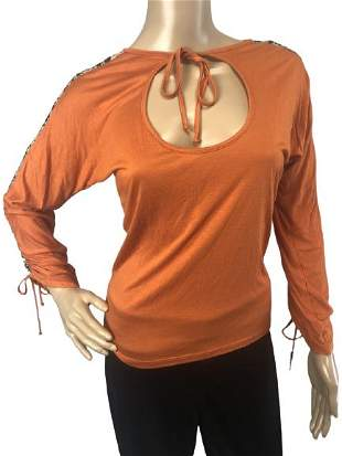 ROBERTO CAVALLI ORANGE LONG SLEEVE BLOUSE SZ 42