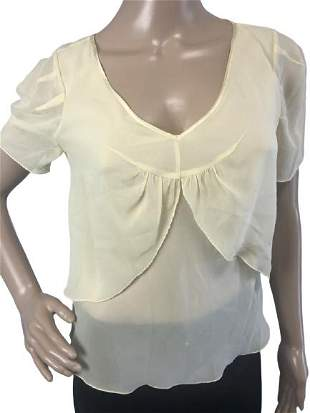 VTG VIVIENNA TAM SHEER CREAM SILK BLOUSE SZ 1