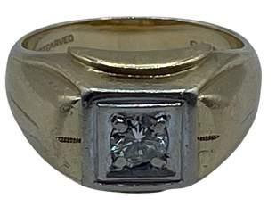 14K GOLD AND DIAMOND RING SZ 7