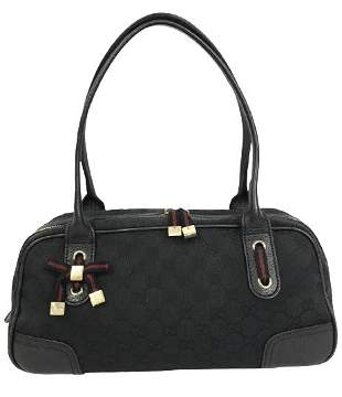 GUCCI BLACK CANVAS PRINCY BOSTON SHOULDER BAG