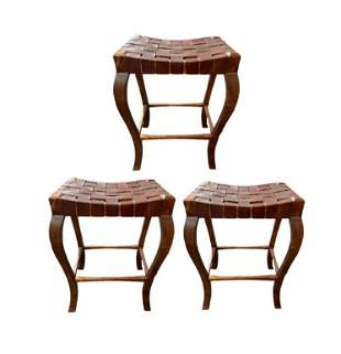 SET OF 3 VTG RUSTIC LEATHER & WOOD BAR STOOLS 30""