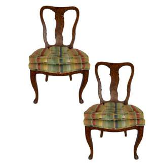 PAIR OF  CHIPPENDALE STYLE WOOD INLAY CHAIRS