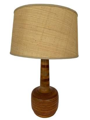 "MID CENTURY DANISH MODERN TEAK LAMP 29"""