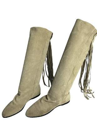 Beige Suede fringed boots size 6 ladies