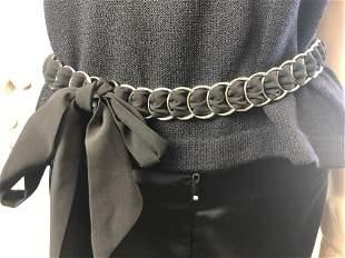"Black material silver chain belt 31"" x 1"""