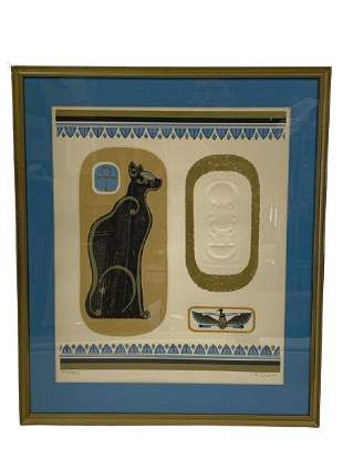 "K. DE CARLO EGYPTIAN BLACK CAT PRINT 26.5"""