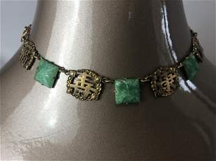 GOLD AND JADE-LIKE CHOKER NECKLACE-ORIENTAL