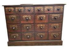 """ANTIQUE ENGLISH APOTHECARY CHEST OF DRAWERS 50"""""""