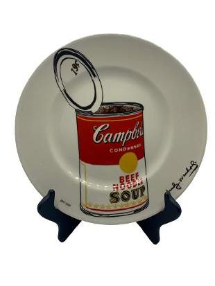 """WARHOL """"CAMPBELLS SOUP CAN 1962"""" PLATE 10.5"""" IN BOX"""