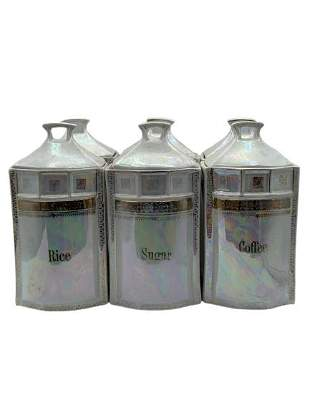 ANTIQUE GERMAN OPALESCENT CANISTERS SET OF 6