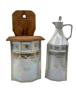 VTG GERMAN OPALESCENT SALT BOX & OIL BOTTLE