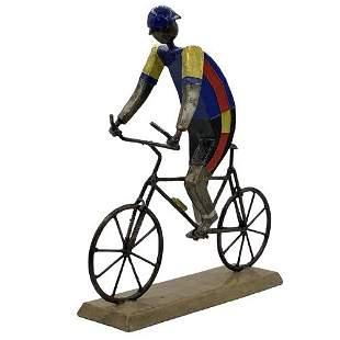 FELGUEREZ BICYCLE RACER ENAMEL & METAL SCULPTURE