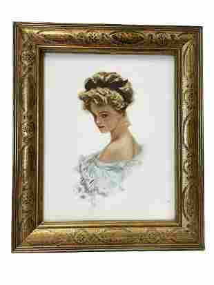 """H. FISHER FRENCH DAME WATERCOLOR STYLE PRINT 13"""""""