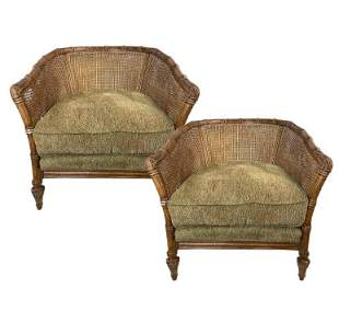 """PAIR OF JEFFCO BAMBOO CANE BARRELL CHAIRS 33"""""""
