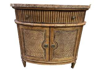"""VINTAGE JEFFCO WICKER BAMBOO RATTAN CABINET 40"""""""