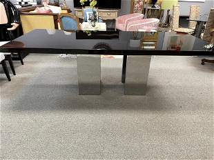 LARGE CONTEMPORARY CHROME BASE DINING TABLE